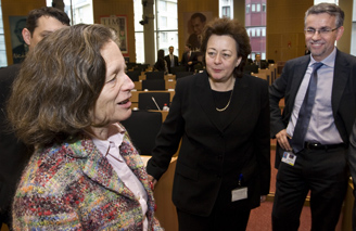 ETF's Madlen Serban (middle) and Pervenche Beres (left), the reelected chair of European Parliament Employment Committee
